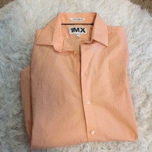Peach long sleeve button up dress shirt